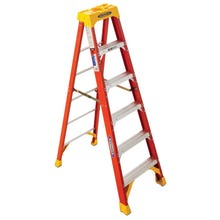 Image 1 of WERNER 6206 Step Ladder, 300 lb Weight Capacity, 5-Step, Fiberglass