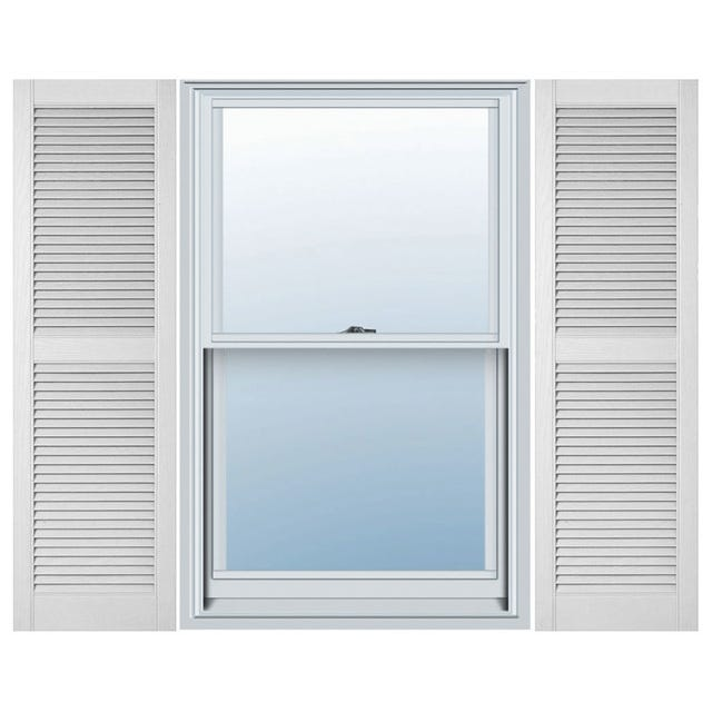 Cellwood White Vinyl Louvered Shutters with midrail (1 Pair)