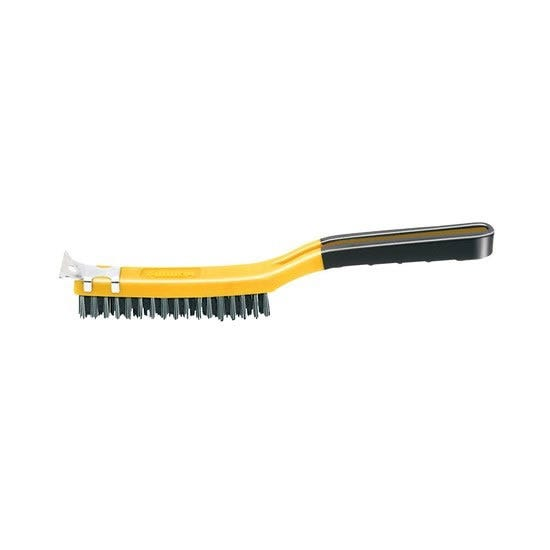 ALLWAY LONG HANDLE SOFT GRIP STAINLESS STEEL BRUSH WITH SCRAPER