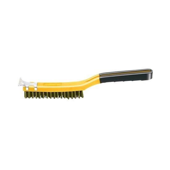 Allway Long Handle Soft-Grip Brass Wire Brush with Scraper