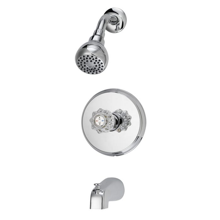 Boston Harbor Tub and Shower Faucet, 2 gpm at 80 psi, Zinc Tub Spout, 1 Acrylic Round Handle, Chrome