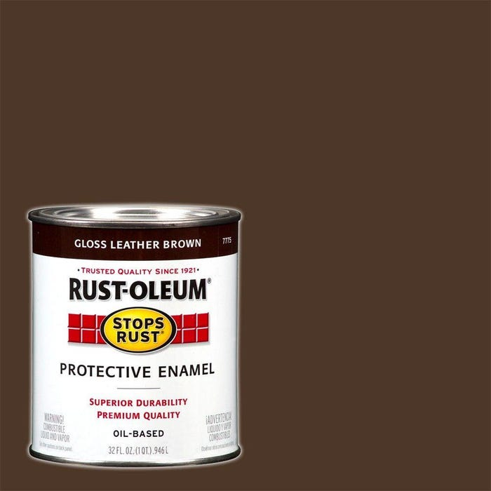 Rustoleum Stops Rust Gloss Leather Brown Protective Enamel Quart