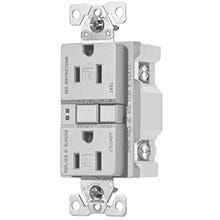 Eaton Wiring Devices TRSGF15SG-L Duplex GFCI Receptacle, 15 A, 2-Pole, 5-15R, Silver Granite