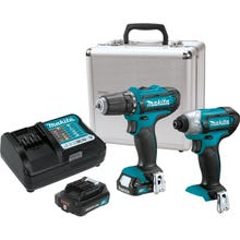 MAKITA 12V max CXT Lithium-Ion Cordless 2-Pc. Combo Kit (2.0Ah) with Case