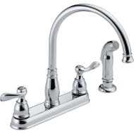 DELTA Windemere 21996LF Kitchen Faucet with Side Spray, 2-Faucet Handle, 11-5/8 in H Spout, Plastic, Chrome