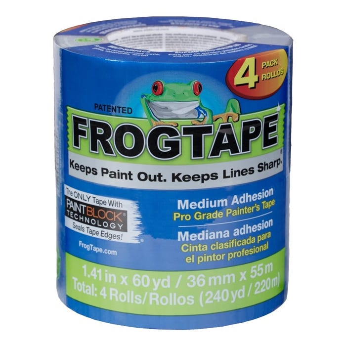 FrogTape Pro-Blue Multi-Surface Painting Tape, 1.41 in x 60 yd (4-Pack)