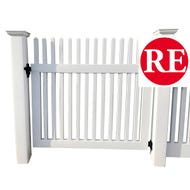 White Vinyl Picket Gate, 4 ft. x 4 ft. Panel