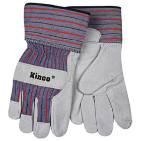 Kinco 1500-M Unlined Suede Cowhide Leather Palm Gloves, Medium, Gray