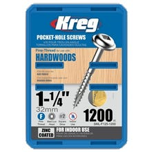 Kreg 1¼ in. Self-Tapping Pocket-Hole Screw, Fine Thread, 1200 Count