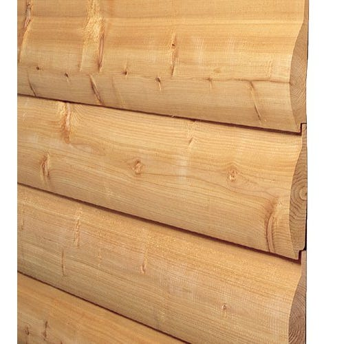 Rough Sawn/Saw Textured Kiln Dried Spruce Log Cabin Siding, 2 in. x 8 in.
