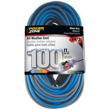 Powerzone Extra Heavy Duty All-Weather Extension Cord, Blue/Orange 12/3