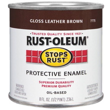 Rustoleum Stops Rust Leather Brown Protective Enamel 1/2 Pint