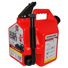 SUREcan SUR22G1 Gas Can, 2.2 gal Capacity, HDPE, Red