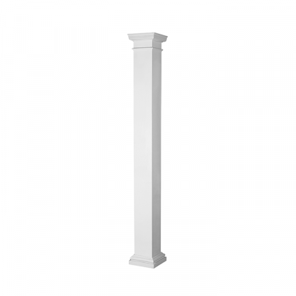 Turncraft Pro-Series Non-Tapered Square FRP Column, Smooth with Cap & Base