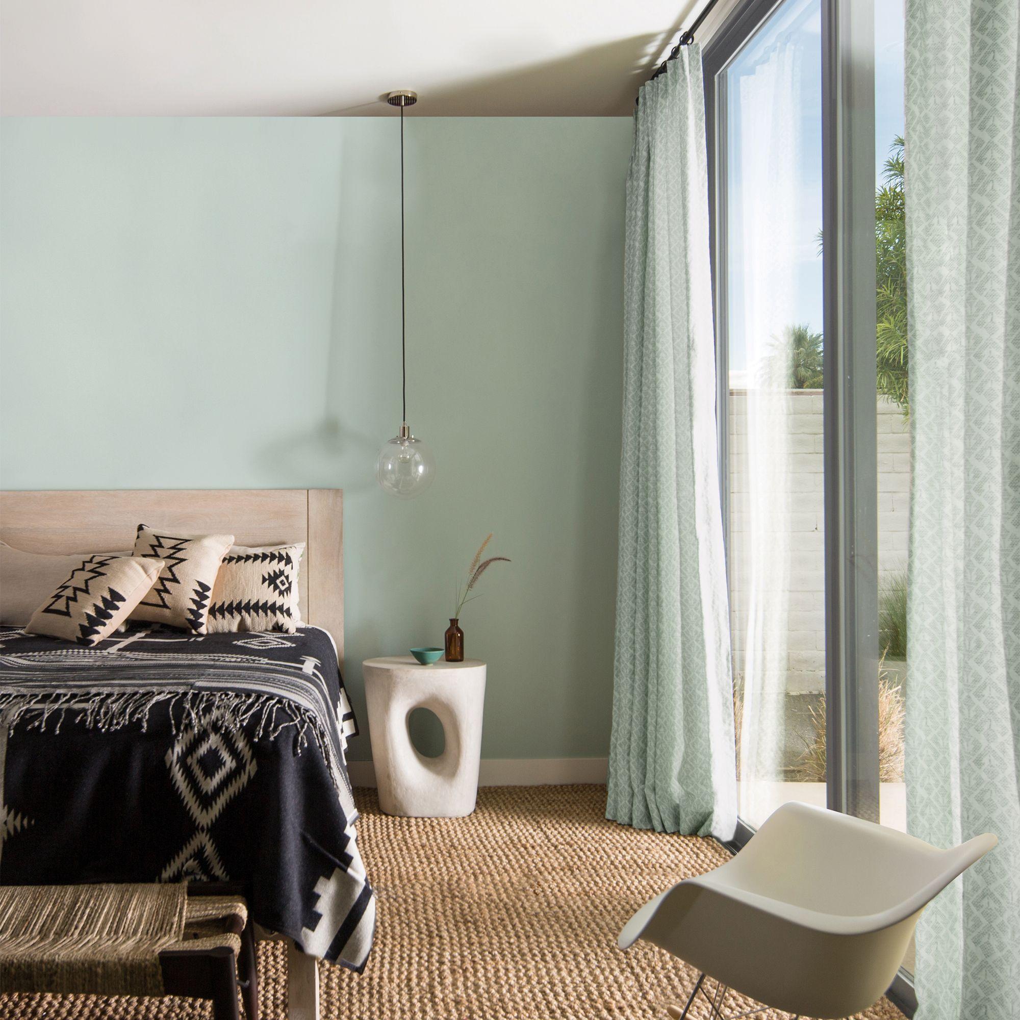 Aqua Bedroom with Sliding Glass Door