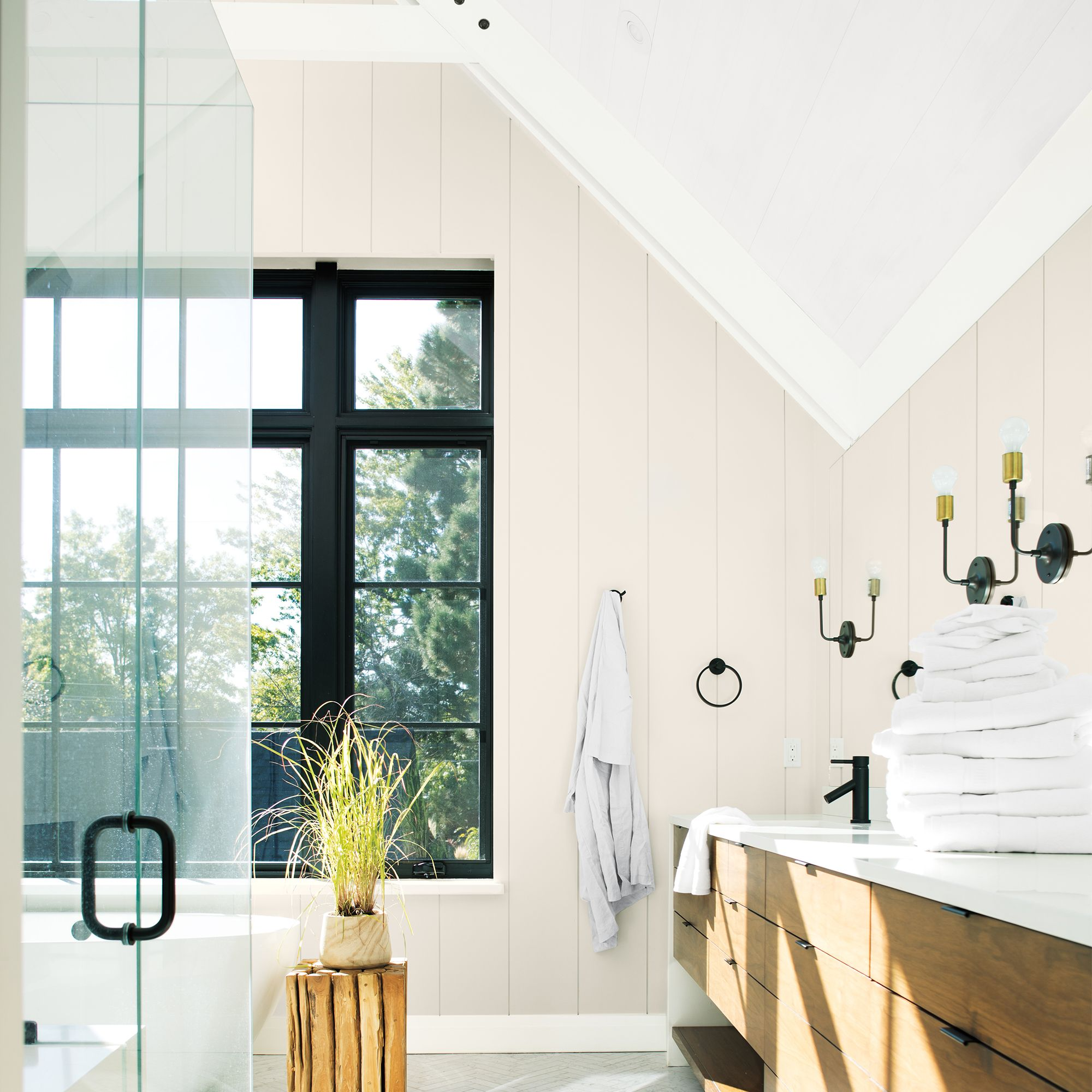 Bathroom with Glass Doors and Vaulted Ceiling