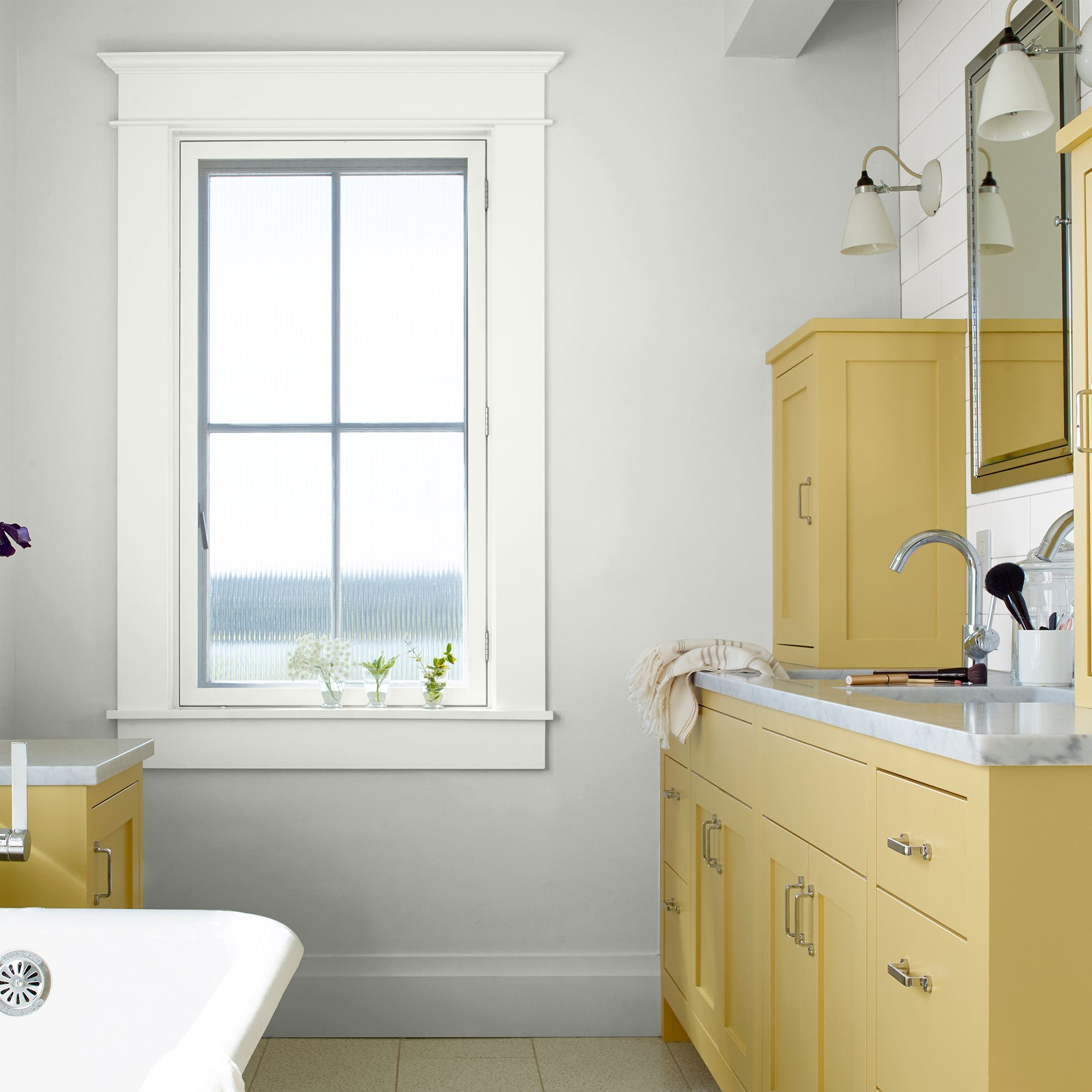 Bathroom with Yellow Cabinets