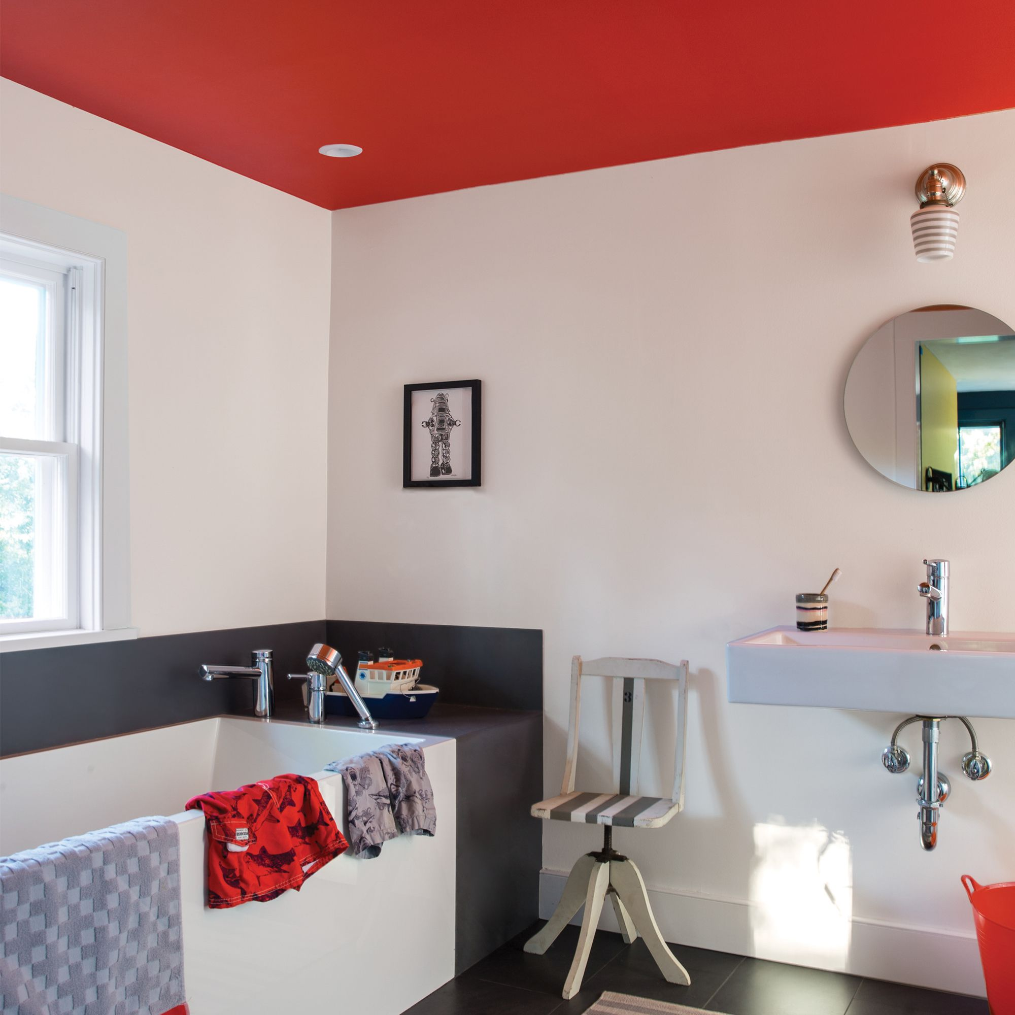 Bathroom with red/orange ceiling