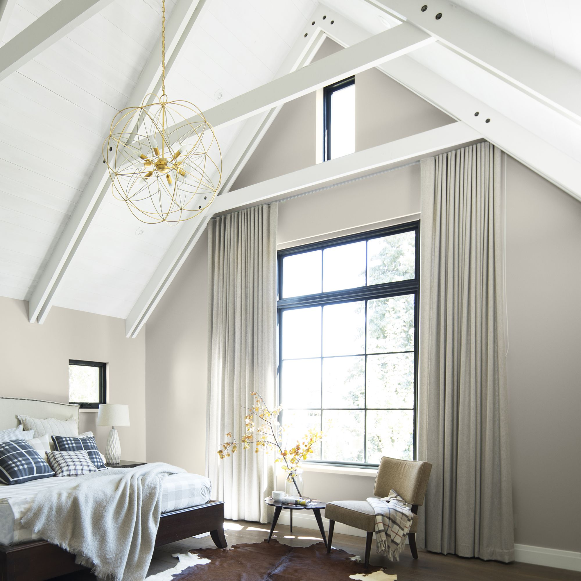Bedroom with Vaulted Ceiling and Beams