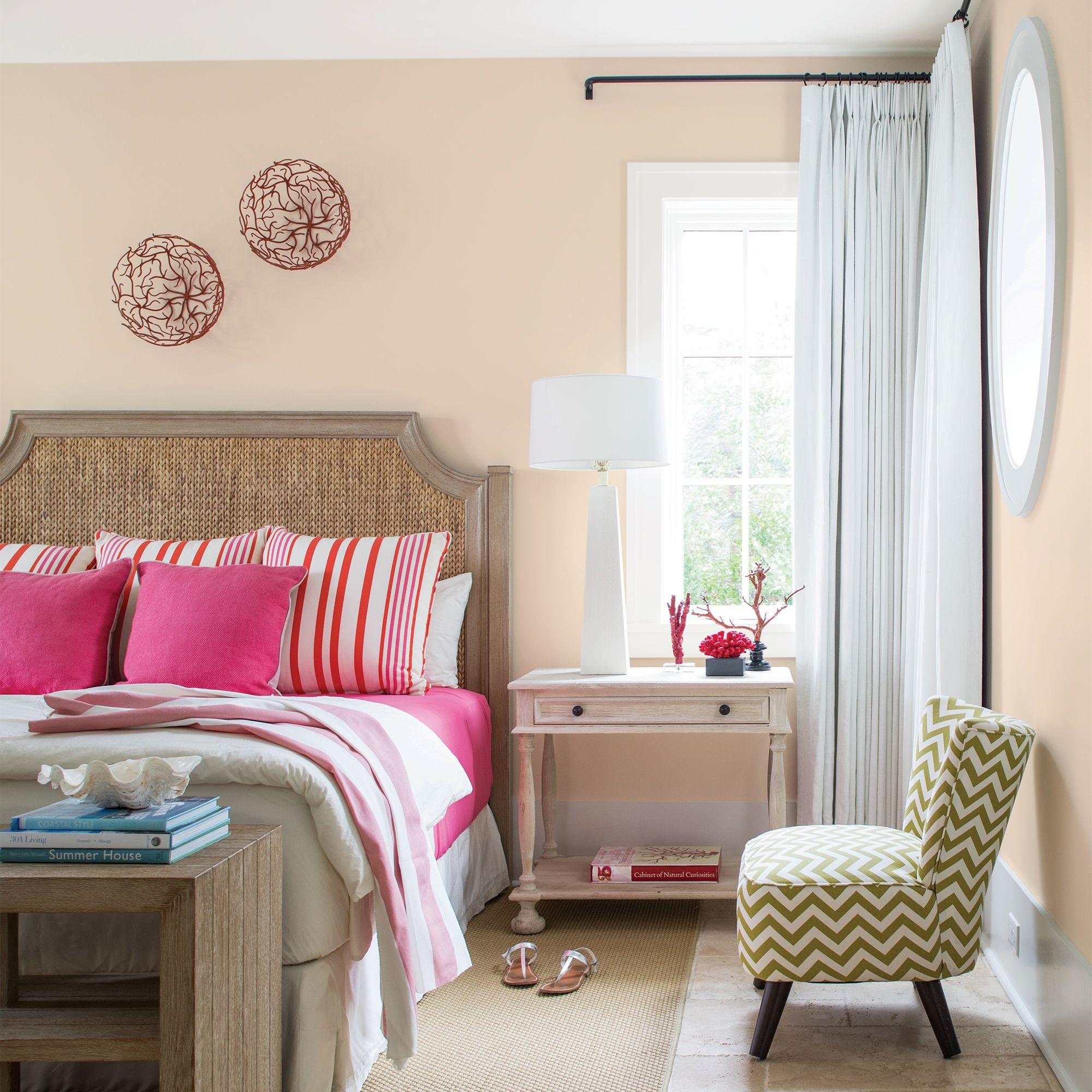 Beige Bedroom with Pink Accents