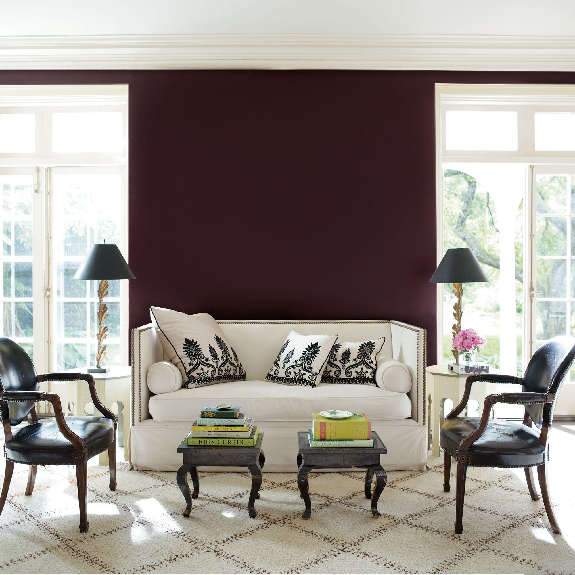 Burgundy Living Room with White Sofa