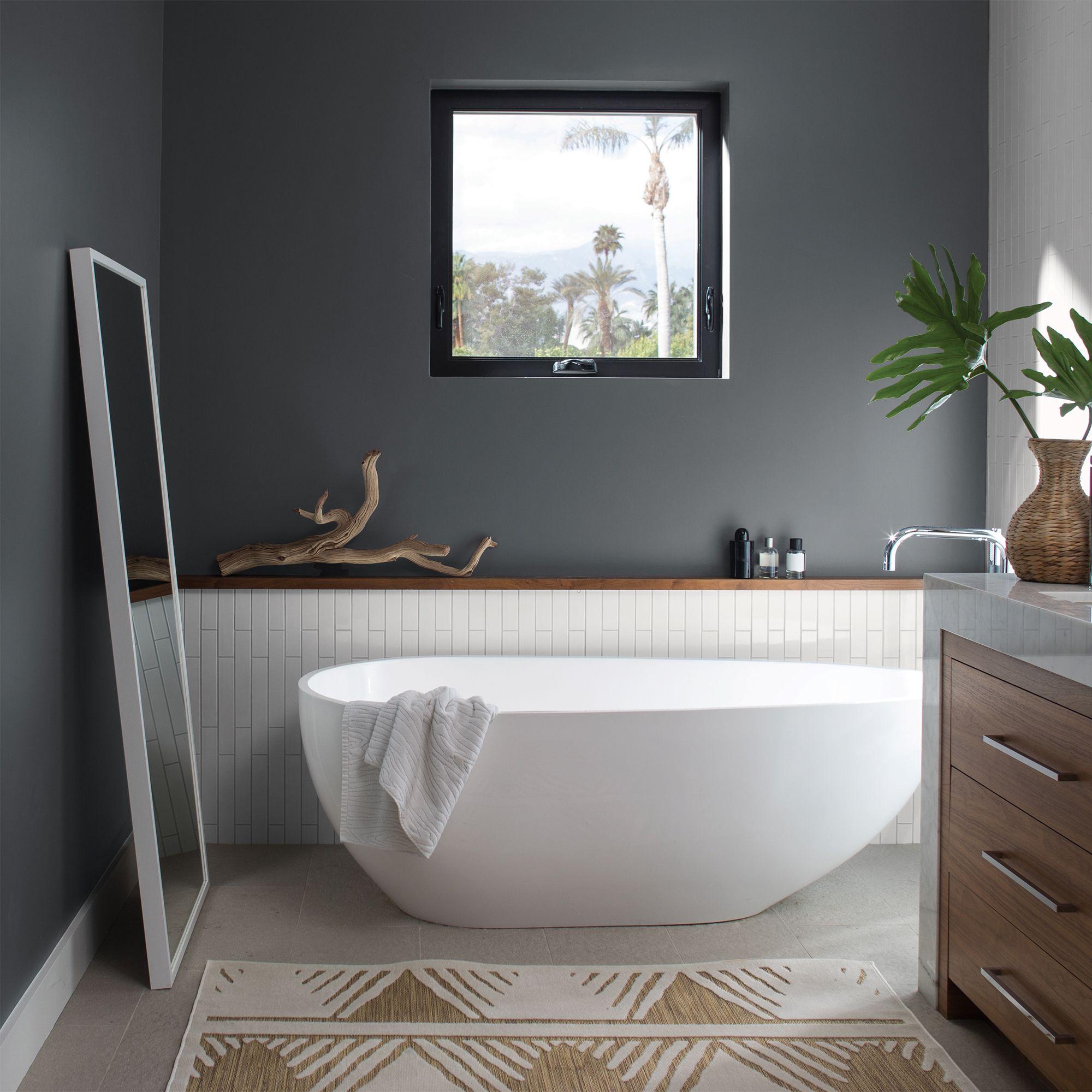 Dark Grey Bathroom with Soaking Tub