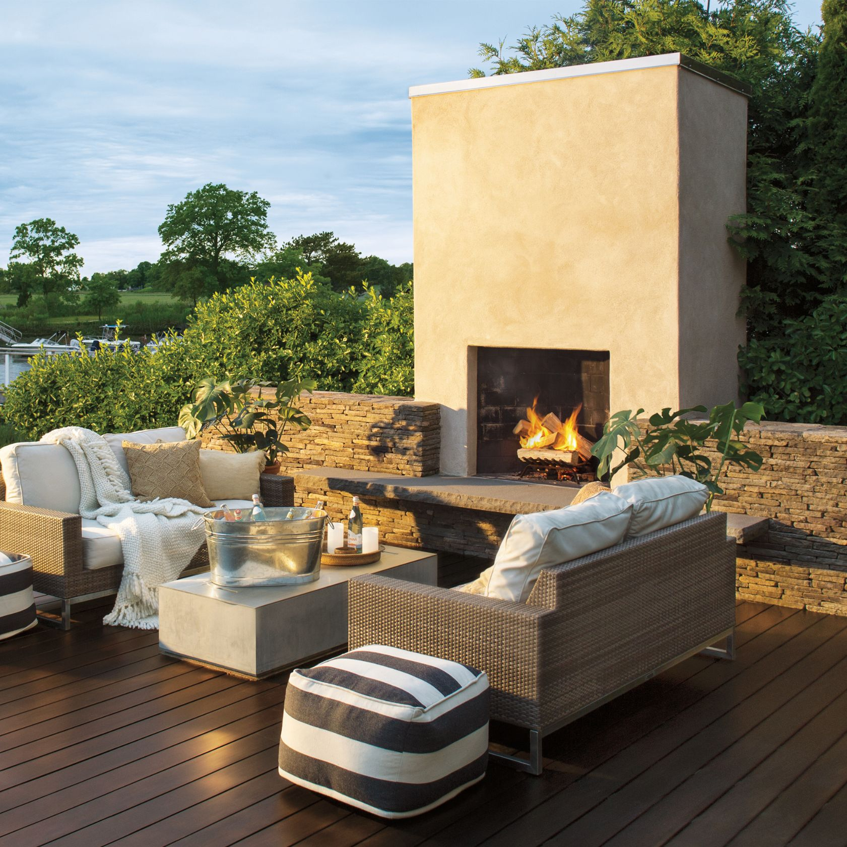 Exterior Deck With Fireplace