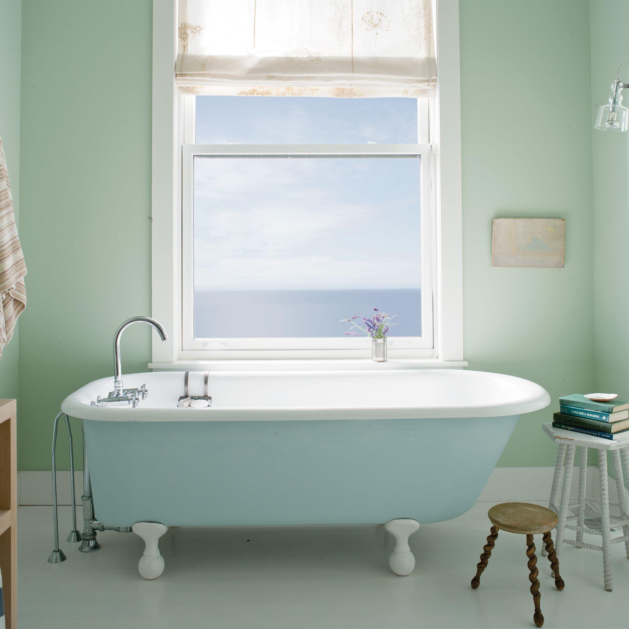 Green Bathroom with Pale Blue Bathtub
