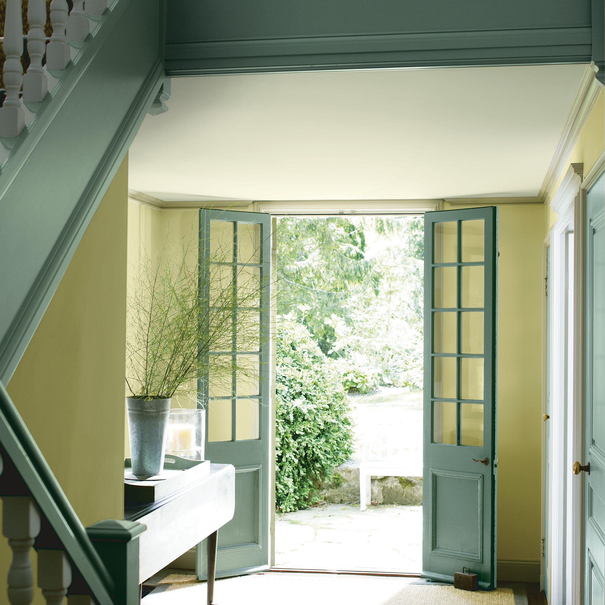 Green Entryway with Open Door