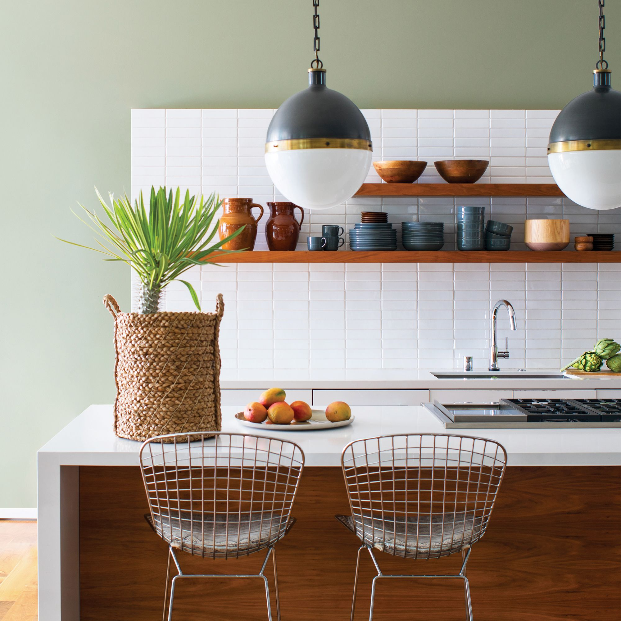 Green Kitchen with Hanging Lights