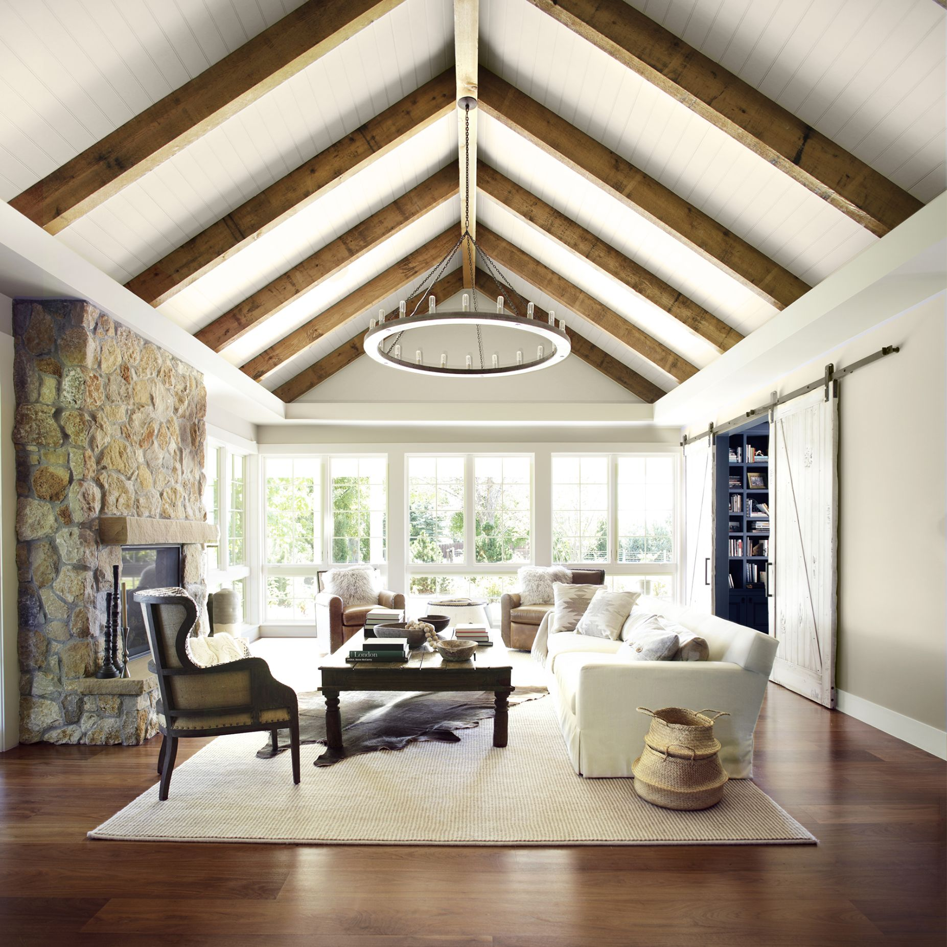 Living Room with Vaulted Ceiling and Wood Beams