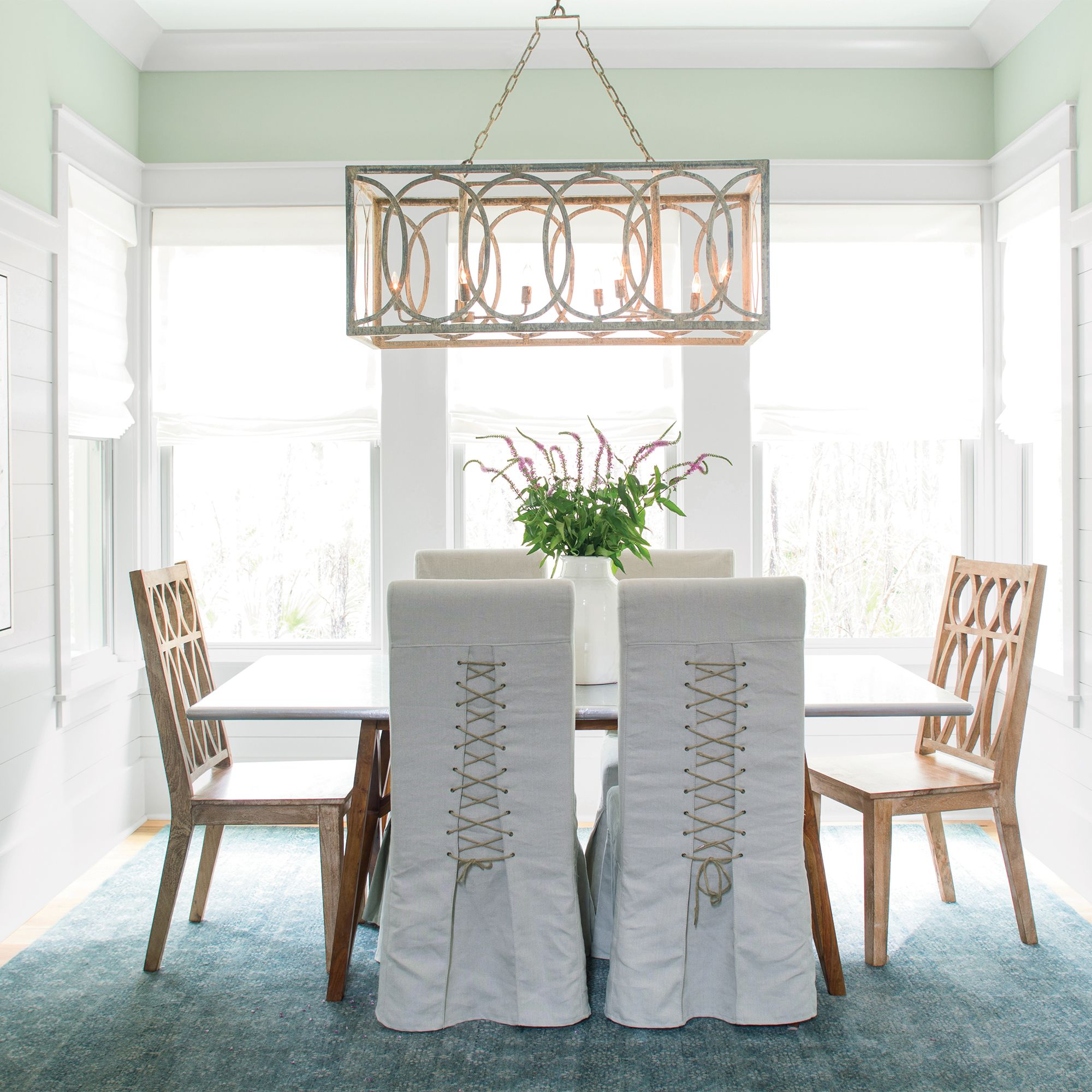 Pale Green and White Dining Room