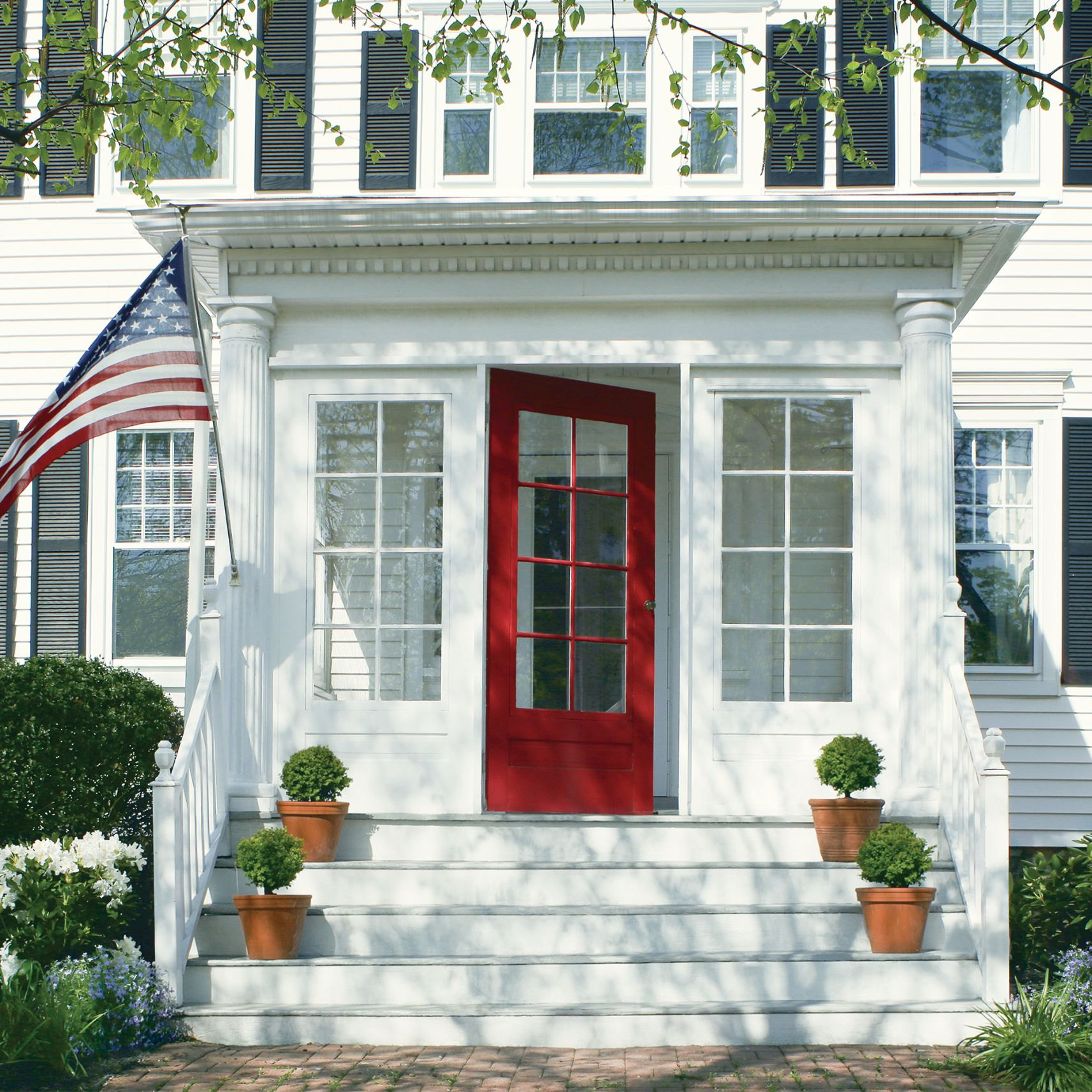 Coral Door with American Flag