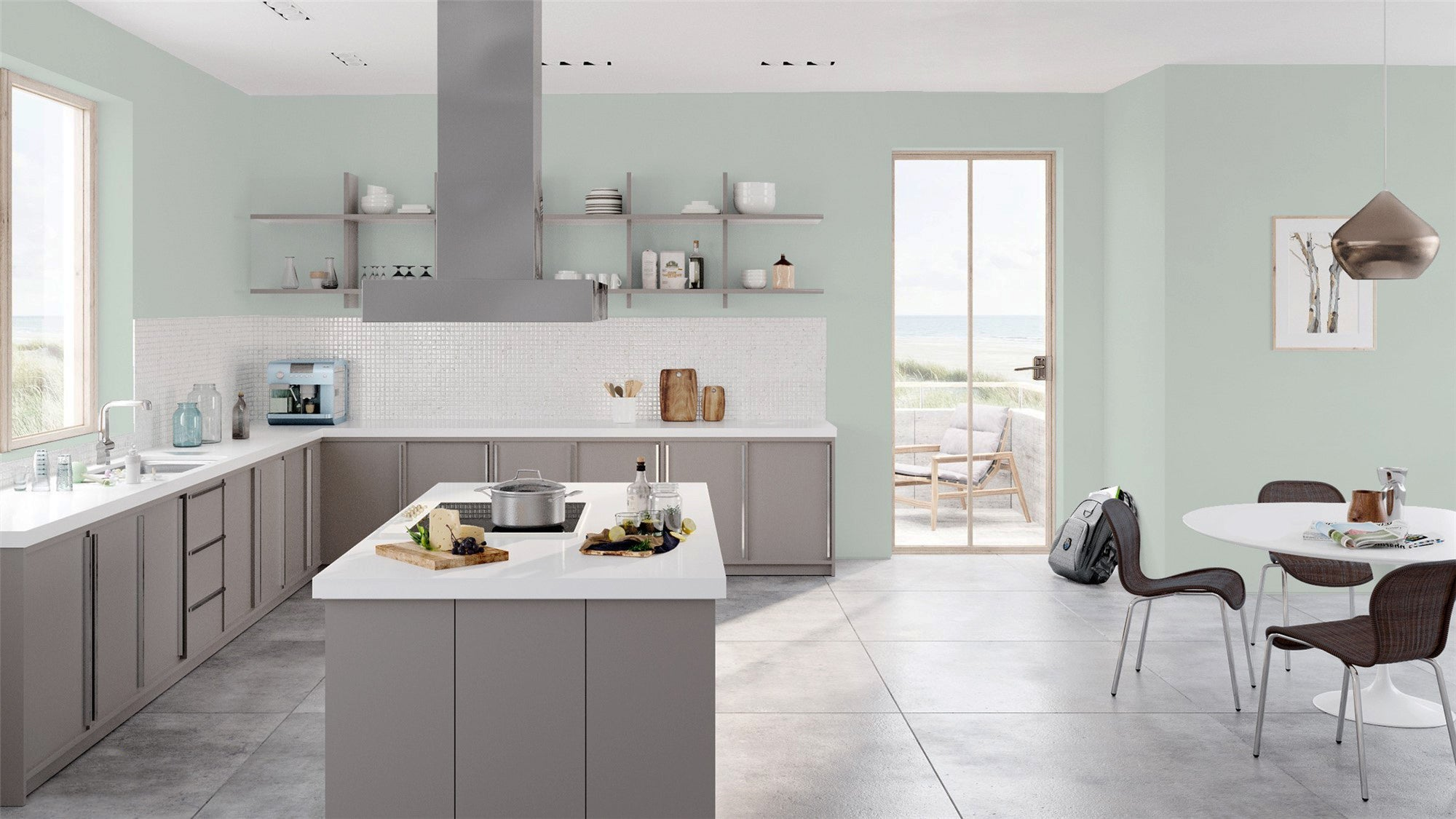 In a bright, open kitchen with lots of natural light, Quiet Moments can bring   a cool, crisp coastal feel inside. Warmer and more saturated than a neutral   gray, it's a gorgeous backdrop to liven up a modern space.