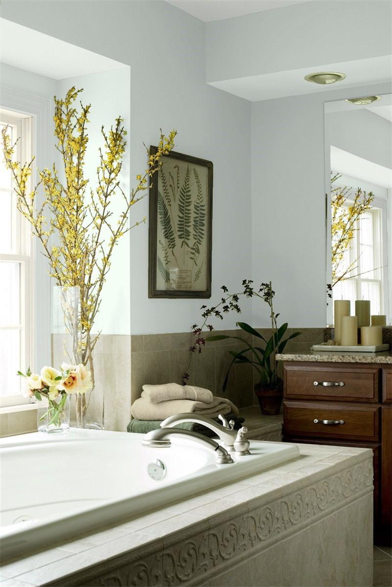 Beach Glass walls in a Master Bathroom
