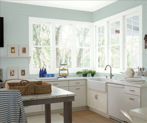 Beach Glass walls and white cabinets via Benjamin Moore