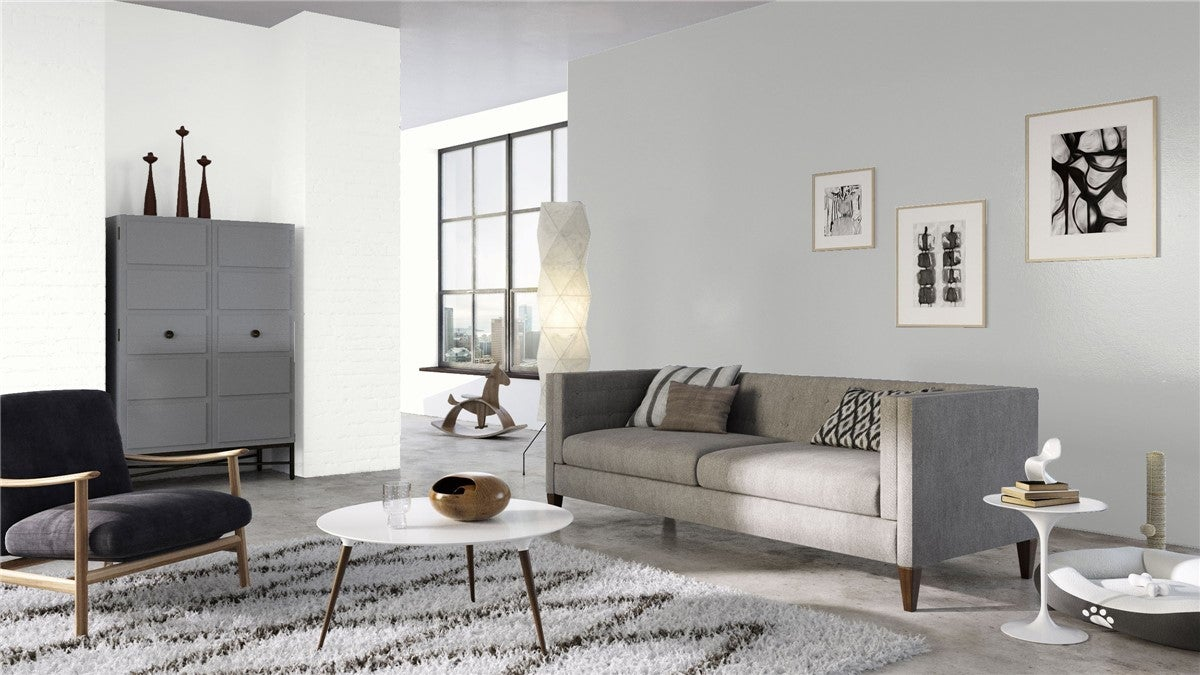 Benjamin Moore Super White OC-152 keeps an upscale apartment open and cozy.